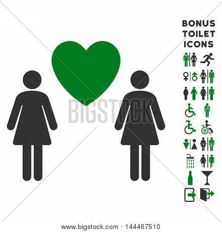 Lesbi Love Pair icon and bonus male and female lavatory symbols. Vector illustration style is flat iconic bicolor symbols, green and gray colors, white background.