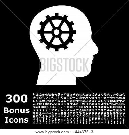 Intellect icon with 300 bonus icons. Vector illustration style is flat iconic symbols, white color, black background.