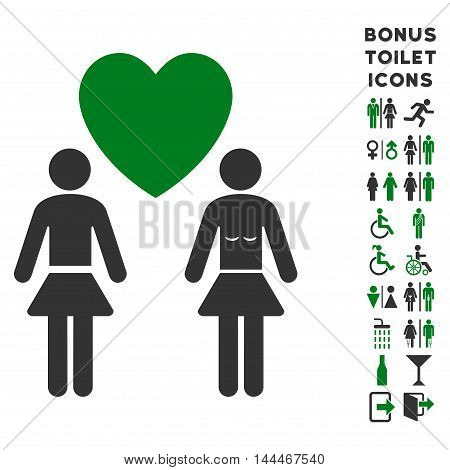 Lesbi Love Pair icon and bonus man and woman restroom symbols. Vector illustration style is flat iconic bicolor symbols, green and gray colors, white background.