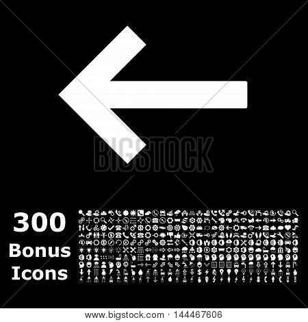 Left Arrow icon with 300 bonus icons. Vector illustration style is flat iconic symbols, white color, black background.