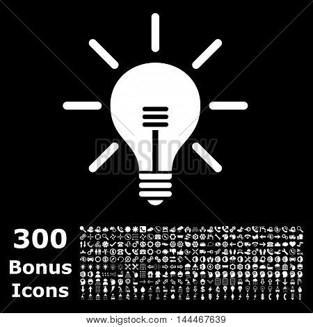 Light Bulb icon with 300 bonus icons. Vector illustration style is flat iconic symbols, white color, black background.