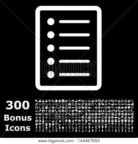 List Page icon with 300 bonus icons. Vector illustration style is flat iconic symbols, white color, black background.