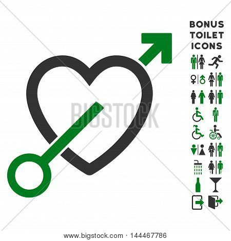 Love Arrow icon and bonus male and lady WC symbols. Vector illustration style is flat iconic bicolor symbols, green and gray colors, white background.