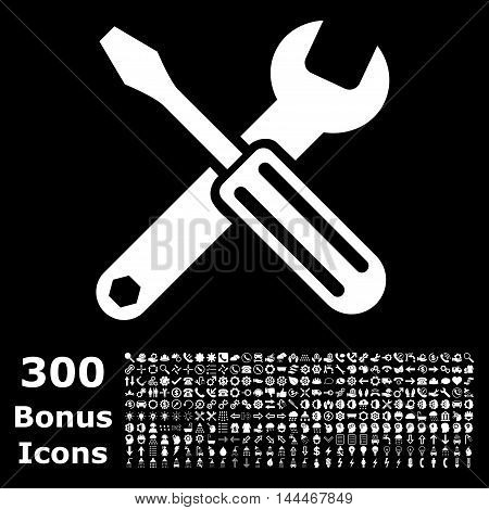 Options icon with 300 bonus icons. Vector illustration style is flat iconic symbols, white color, black background.