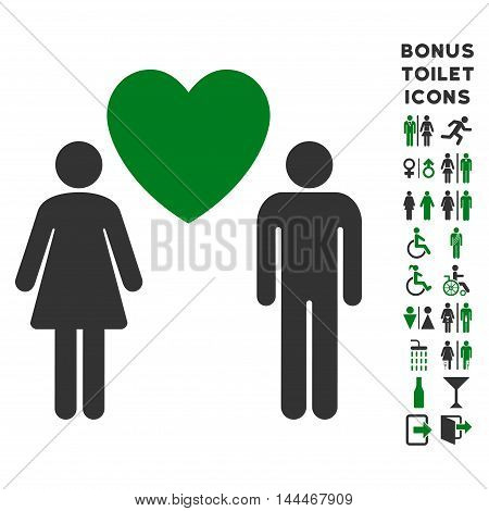 Love Persons icon and bonus gentleman and woman restroom symbols. Vector illustration style is flat iconic bicolor symbols, green and gray colors, white background.