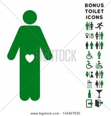 Lover Guy icon and bonus gentleman and woman restroom symbols. Vector illustration style is flat iconic bicolor symbols, green and gray colors, white background.