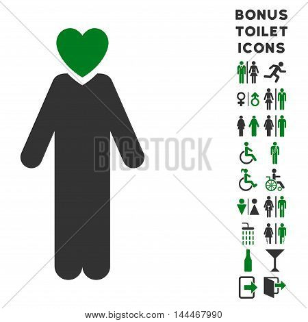 Lover Man icon and bonus gentleman and woman WC symbols. Vector illustration style is flat iconic bicolor symbols, green and gray colors, white background.