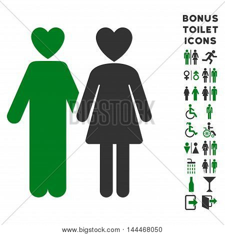 Lovers icon and bonus male and lady toilet symbols. Vector illustration style is flat iconic bicolor symbols, green and gray colors, white background.