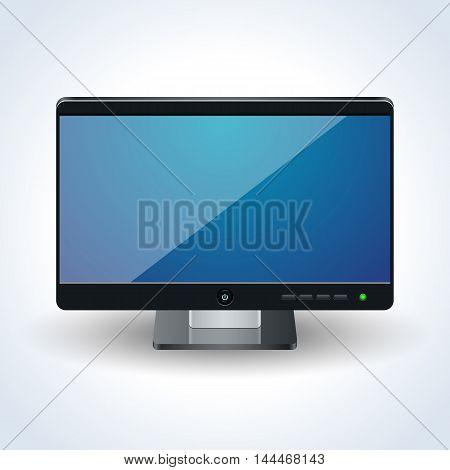 Modern computer desktop monitor realistic vector icon
