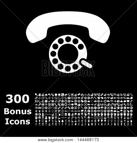 Pulse Dialing icon with 300 bonus icons. Vector illustration style is flat iconic symbols, white color, black background.