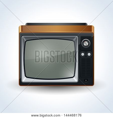 Retro TV set realistic 3d vector icon