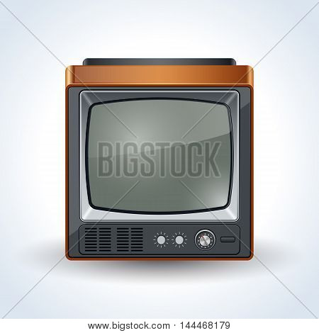 Old square TV set realistic vector icon