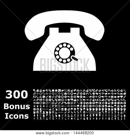 Pulse Phone icon with 300 bonus icons. Vector illustration style is flat iconic symbols, white color, black background.