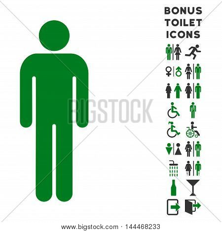 Man icon and bonus male and woman WC symbols. Vector illustration style is flat iconic bicolor symbols, green and gray colors, white background.