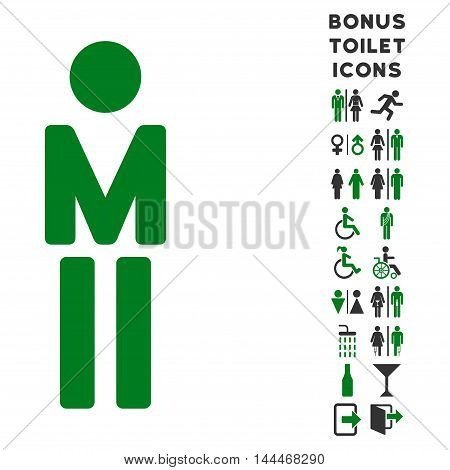 Man icon and bonus male and lady toilet symbols. Vector illustration style is flat iconic bicolor symbols, green and gray colors, white background.