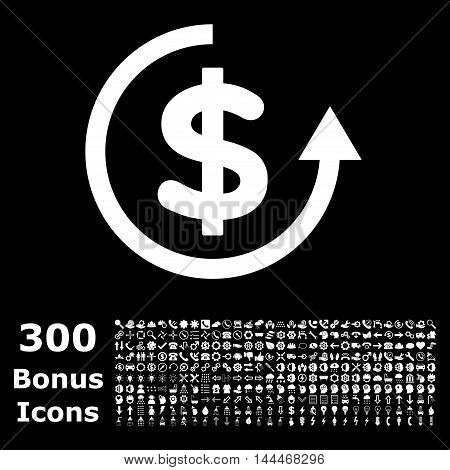 Refund icon with 300 bonus icons. Vector illustration style is flat iconic symbols, white color, black background.