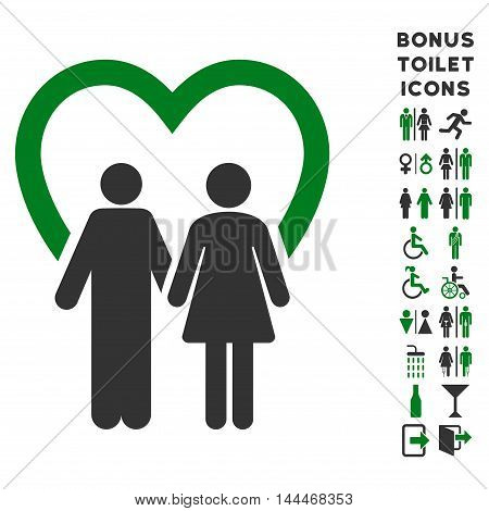 Marriage icon and bonus man and female toilet symbols. Vector illustration style is flat iconic bicolor symbols, green and gray colors, white background.