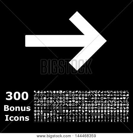 Right Arrow icon with 300 bonus icons. Vector illustration style is flat iconic symbols, white color, black background.