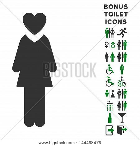 Mistress icon and bonus gentleman and lady WC symbols. Vector illustration style is flat iconic bicolor symbols, green and gray colors, white background.
