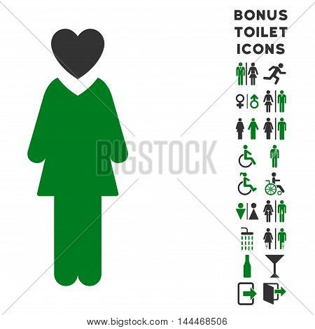 Mistress icon and bonus gentleman and woman lavatory symbols. Vector illustration style is flat iconic bicolor symbols, green and gray colors, white background.