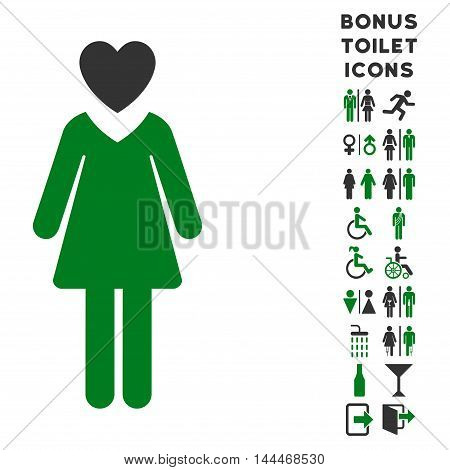 Mistress icon and bonus male and woman toilet symbols. Vector illustration style is flat iconic bicolor symbols, green and gray colors, white background.