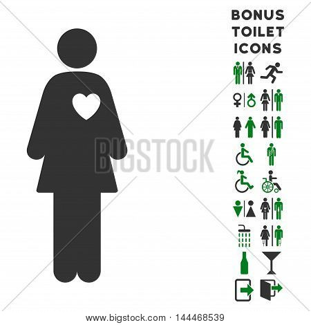 Mistress icon and bonus man and female WC symbols. Vector illustration style is flat iconic bicolor symbols, green and gray colors, white background.