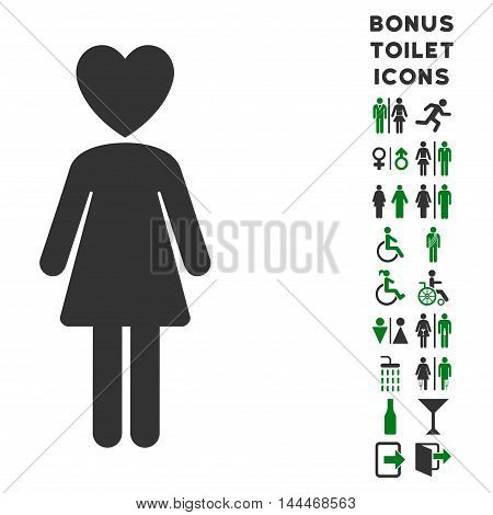 Mistress icon and bonus gentleman and lady toilet symbols. Vector illustration style is flat iconic bicolor symbols, green and gray colors, white background.