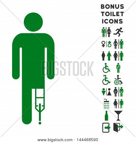 Patient Man icon and bonus gentleman and lady toilet symbols. Vector illustration style is flat iconic bicolor symbols, green and gray colors, white background.