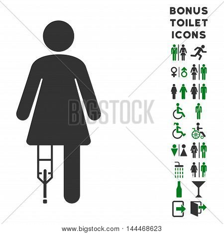 Patient Woman icon and bonus man and woman restroom symbols. Vector illustration style is flat iconic bicolor symbols, green and gray colors, white background.