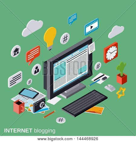 Internet blogging, web publication, journalism, blog management vector concept
