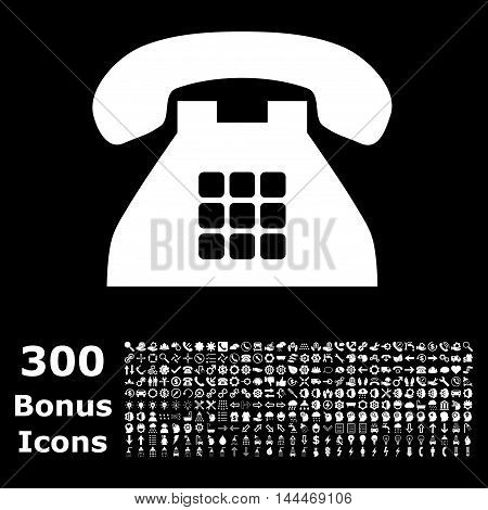 Tone Phone icon with 300 bonus icons. Vector illustration style is flat iconic symbols, white color, black background.