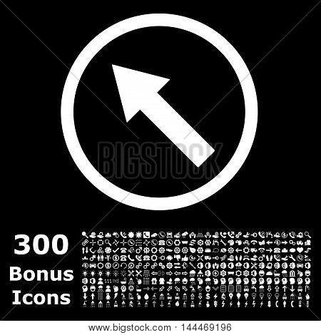 Up-Left Rounded Arrow icon with 300 bonus icons. Vector illustration style is flat iconic symbols, white color, black background.