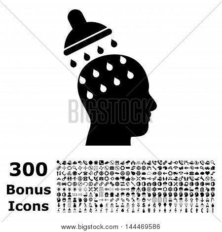 Brain Washing icon with 300 bonus icons. Vector illustration style is flat iconic symbols, black color, white background.