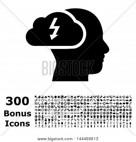 Brainstorming icon with 300 bonus icons. Vector illustration style is flat iconic symbols, black color, white background.