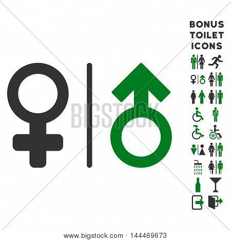 WC Gender Symbols icon and bonus gentleman and female restroom symbols. Vector illustration style is flat iconic bicolor symbols, green and gray colors, white background.
