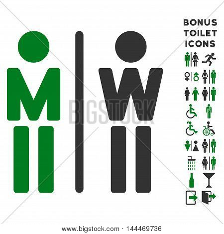 WC Persons icon and bonus gentleman and woman restroom symbols. Vector illustration style is flat iconic bicolor symbols, green and gray colors, white background.