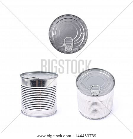 Metal tin food can isolated over the white background, set of three different foreshortenings