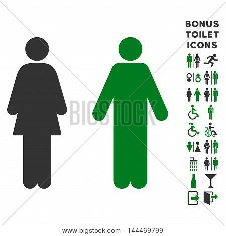 WC Persons icon and bonus gentleman and woman lavatory symbols. Vector illustration style is flat iconic bicolor symbols, green and gray colors, white background.