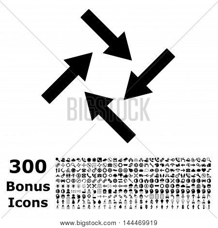 Centripetal Arrows icon with 300 bonus icons. Vector illustration style is flat iconic symbols, black color, white background.