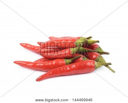 Pile of red italian peppers isolated over the white background