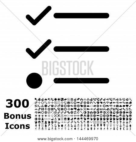 Checklist icon with 300 bonus icons. Vector illustration style is flat iconic symbols, black color, white background.