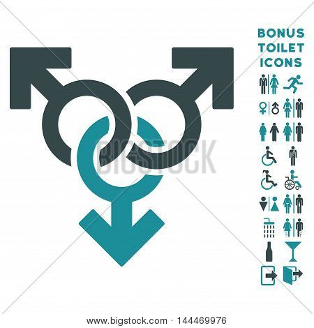 Group Gay Sex icon and bonus gentleman and woman lavatory symbols. Vector illustration style is flat iconic bicolor symbols, soft blue colors, white background.