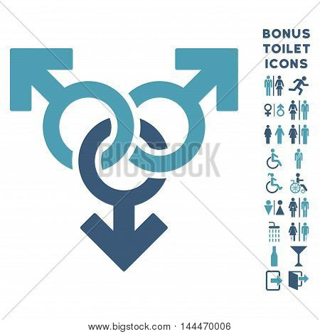 Group Gay Sex icon and bonus gentleman and lady restroom symbols. Vector illustration style is flat iconic bicolor symbols, cyan and blue colors, white background.