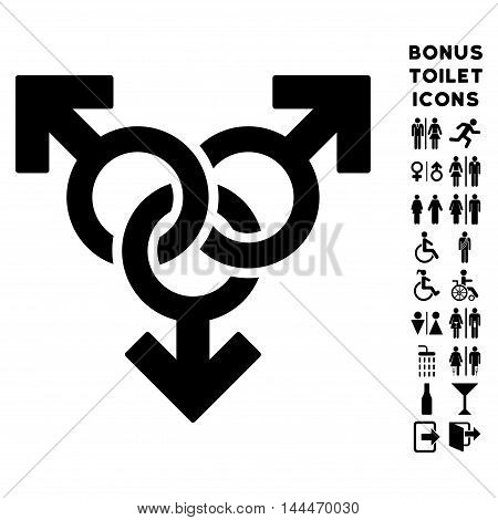 Group Gay Sex icon and bonus gentleman and lady lavatory symbols. Vector illustration style is flat iconic symbols, black color, white background.