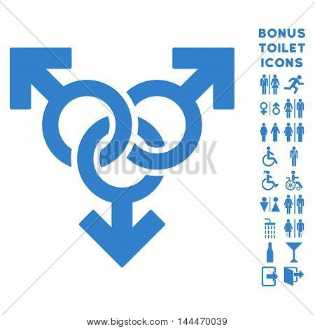 Group Gay Sex icon and bonus man and woman restroom symbols. Vector illustration style is flat iconic symbols, cobalt color, white background.