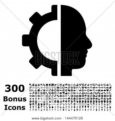 Cyborg Gear icon with 300 bonus icons. Vector illustration style is flat iconic symbols, black color, white background.