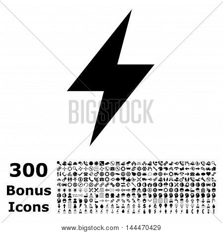 Electric Strike icon with 300 bonus icons. Vector illustration style is flat iconic symbols, black color, white background.