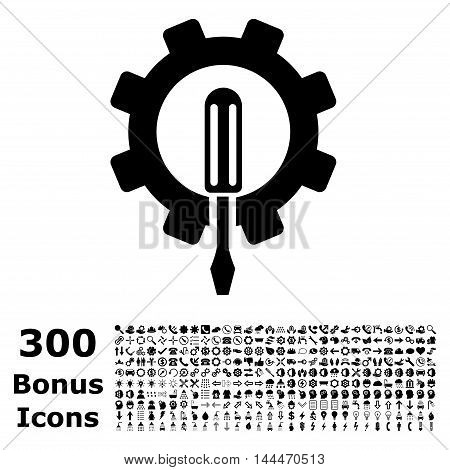 Engineering icon with 300 bonus icons. Vector illustration style is flat iconic symbols, black color, white background.