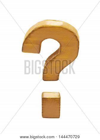 Question mark symbol sawn of wood and paint coated, isolated over the white background