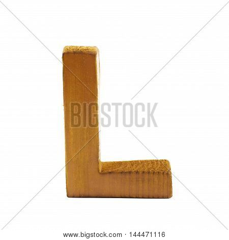 Single sawn wooden letter L symbol coated with paint isolated over the white background